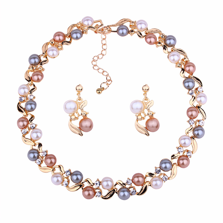 RONI Ladies temperament pearl jewelry set women necklace + earrings two-pieces set dress accessories 02 all code