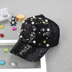 RONI Summer new girls fashion sequins pearl net cap kids sunshade hat 01 all code