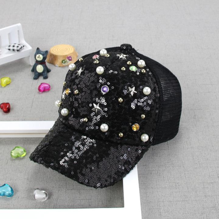 RONI Summer new girls fashion sequins pearl net cap kids sunshade hat 01 all code