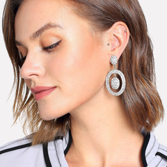 RONI New ear jewelry alloy inlay hollow Oval lady temperament extravagance exquisite ear nail 01 all code