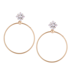 RONI Fashion simple zirconium temperament ear nail classic geometry big circle popular ear ornaments 01 all code