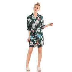 RONI Summer lady imitation silk pajamas women medium sleeved robe bathrobe home dress 01 m