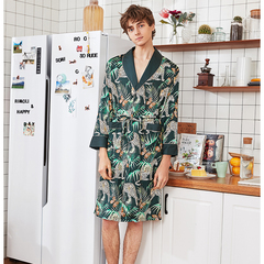 RONI Summer men imitation silk pajamas  long robe bathrobe home dress 01 l