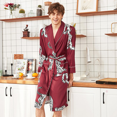 RONI Spring men imitation silk robe  leopard printed home clothes 01 l
