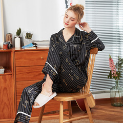 RONI Spring lady imitation silk  pajamas set fashion smooth shirt +trousers two-piece set 01 m
