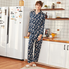 RONI Summer men imitation silk pajamas set fashion smooth shirt +trousers two-piece set 01 l