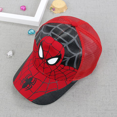 RONI Spider-Man children's net hat summer new cartoon children's sunshade hat Red