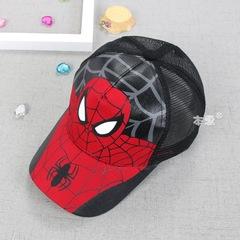 RONI Spider-Man children's net hat summer new cartoon children's sunshade hat Black