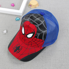 RONI Summer boy Spider-Man  net hat  kids  cartoon  sunshade hat Blue