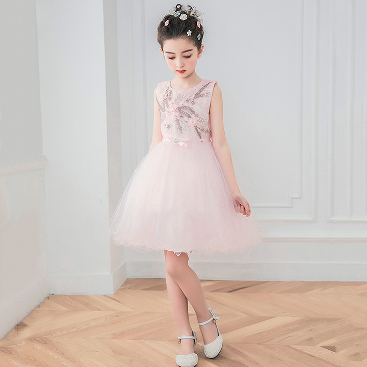 RONI Girl Lace Sweet Princess Skirt Kids Exquisite Embroidery Wedding Dress Birthday Party Dress 01 110cm