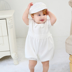 RONI Baby  jumpsuit flower boy dress Wedding Dress Birthday Party Dress clothes+hat twp-piece set 01 18m