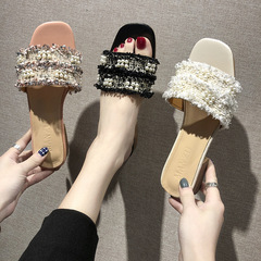 RONI Summer lady exquisite sandals  fashion slippers low-heeled slippers women shoes black 35