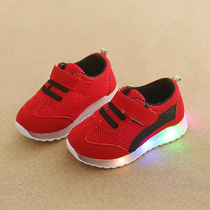RONI Baby girl fashion glowing casual shoes boy kids LED flash anti-skid board shoes 04 25
