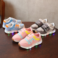 RONI 2019 Spring Baby boy fashion light board shoes casual shoes girl kids LED flash sneakers blue 22