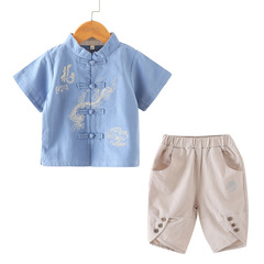 RONI Summer kids Hanfu boy Tang costume ethnic style Chinese style costume two-piece suit 01 90