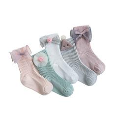RONI 5 Pairs Spring girl sweet bow socks cotton socks baby cotton socks 01 xs