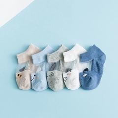 RONI 5 Pairs 2019 Summer baby boy thin short socks girls students cotton socks 01 s(0-1Y)