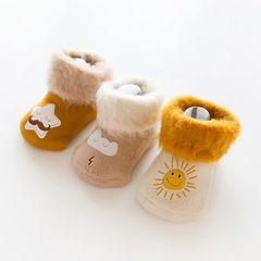 RONI 3Pairs Winter baby girl  thick cotton socks boys cute non-skid floor socks 01 xs(0-6m)