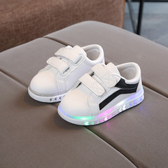 RONI  Spring Baby boy fashion light board shoes white casual shoes girl kids LED flash sneakers 01 21