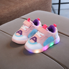 RONI 2019 Spring Baby boy fashion light board shoes casual sports shoes girl kids LED flash sneakers 01 21