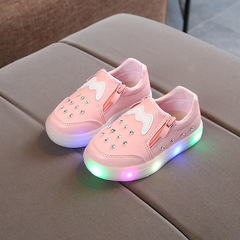 RONI 2019 Spring Baby girl lovely light board shoes casual shoes  kids LED flash sneakers 01 21