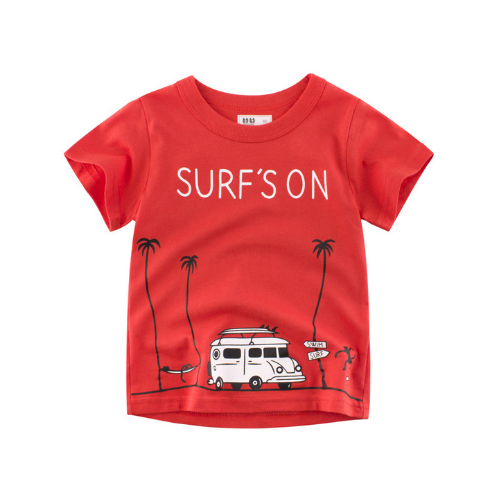 RONI 2019 Summer baby boy 100% cotton cartoon  short-sleeved T-shirt kids clothes 01 90cm 100% cotton