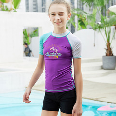 RONI  Girl Lovely Sun-protective  Swimsuit T-shirt Kids Sports Diving Suit(Does not include shorts) 01 s