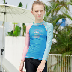 RONI  Girl Sweet Sun-protective Swimsuit T-shirt Kids Sports Diving Suit(Does not include shorts) 01 s