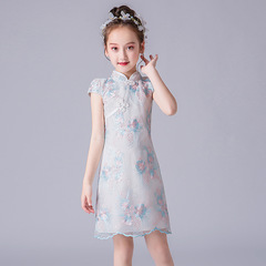 RONI Girl exquisite lace embroidery cheongsam Chinese style dress kids performance dress 01 110cm
