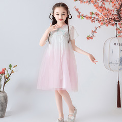RONI Girl exquisite lace embroidery dress Chinese style dress kids fairy skirt 01 100cm
