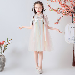 RONI Girl exquisite  embroidery dress Chinese style dress kids fairy chiffon skirt 01 100cm