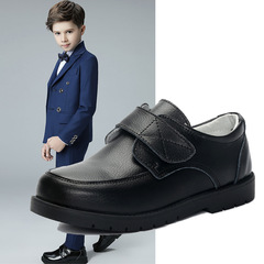 RONI Spring boys shoes student black real leather shoes kids dress shoes.performance shoes black 26