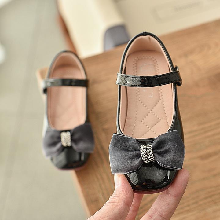 RONI Autumn cute girls princess shoes fashion show shoes students PU shoes 01 22(13.5cm)
