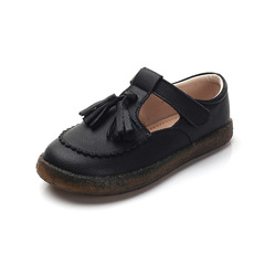 RONI Girls real leather shoes baby princess shoes kids leather soft-soled casual shoes 01 26(16.8cm)