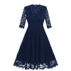 Promtion RONI Lady V-neck mid-sleeve waist lace dress women clothes party dress xxl 01