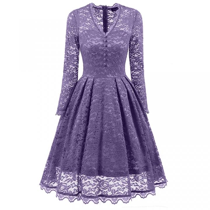 Promtion RONI High-end women's wear lady V-neck long-sleeved lace vintage dress xxl 01