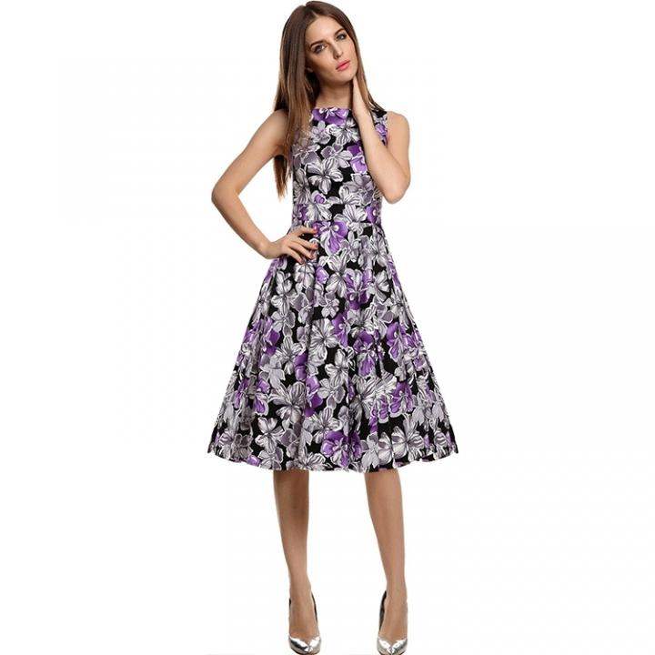 RONI High-end women's wear lady big swing skirt new print sleeveless vest dress m 02