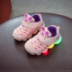 RONI Baby boy fashion glowing casual shoes girl kids LED flash breathable sports shoes 01 21(13cm)