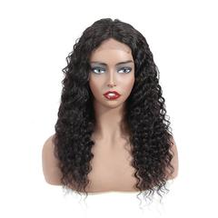 RONI 4x4 Lace front wigs human hair wigs lady fashion long deep curly hair women real hair wigs natural  black 8inch