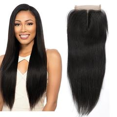 RONI 4*4 Straight closure front lace wigs girl long straight hair full hand woven real hair natural  black 8inch