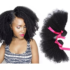 RONI 8A Brazilian Afro Kinky Curly Human Hair Virgin Hair Lady Real Hair Extension Wigs 1Bundle natural  black 8inch
