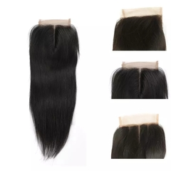 RONI 1Pcs 4x4 straight lace frontal wigs human hair wigs lady long straight wigs natural  black 8inch
