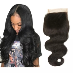 RONI 1Pcs Human hair wigs front lace wigs piece 4x4 free split body lace closure hand-woven wigs natural  black 8inch