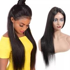 RONI Human hair wigs headgear real human hair 4x13 front lace wigs lady straight wigs natural  black 8inch