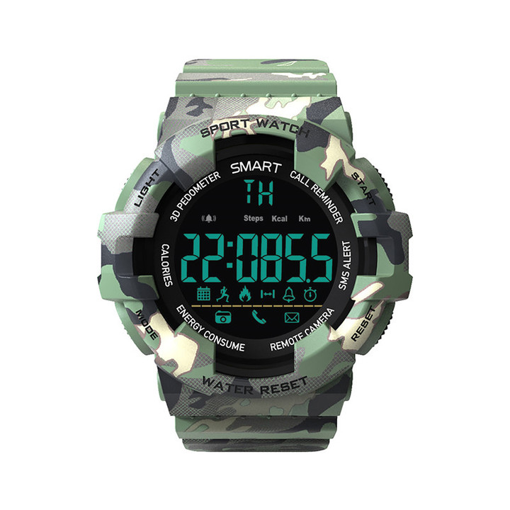 RONI Men Bluetooth Smart Step Counter Reminder Watch Sports Electronic Watch Camouflage Smart Watch green all code