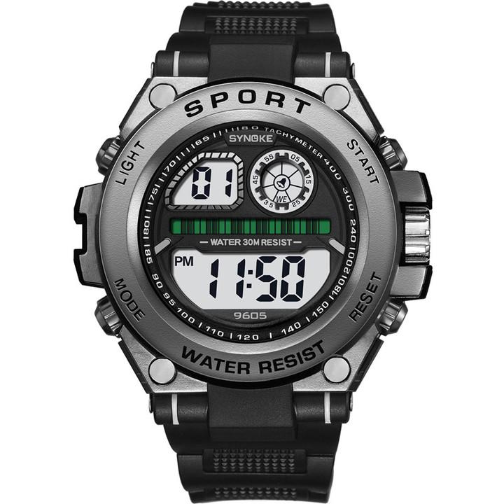 RONI Men fashion sports watch student big screen electronic watch waterproof multi-function watch black all code
