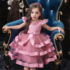 RONI Baby girl embroidered show dress skirt kids multi-layered pettiskirt Christmas dress skirt 01 80cm