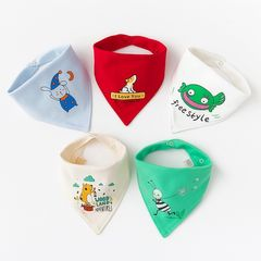 RONI 5pcs baby 100% cotton triangle saliva towel baby bib newborn children turban Baby Care green 5PCS