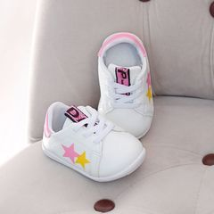 RONI Autumn new baby girl walking shoes boy kids small white shoes casual shoes pink 19(13.5cm)