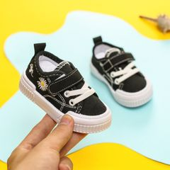 RONI Autumn new baby girl soft-soled board shoes boy kids canvas shoes casual shoes black 21(13.5cm)